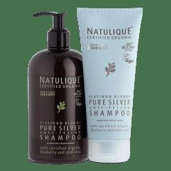Shampooing Argent Blond Platine Certifié Bio, aux propriétés anti-jaunissement et extrait de Myrtille certifié biologique.